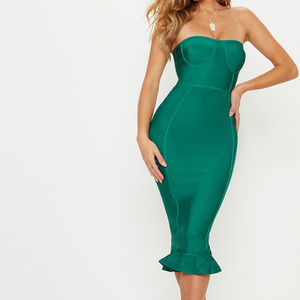 BRAND NEW-Green Emerald Bandage Frill Midi Dress